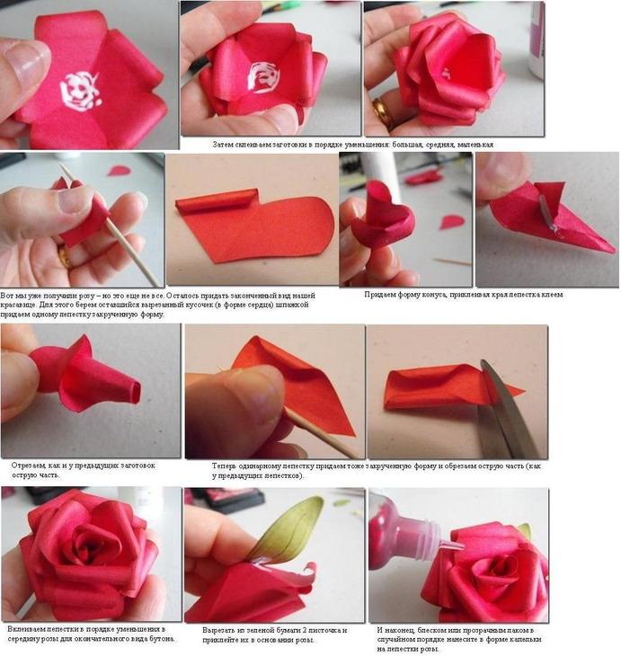 Делаем розу из бумаги своими руками 71